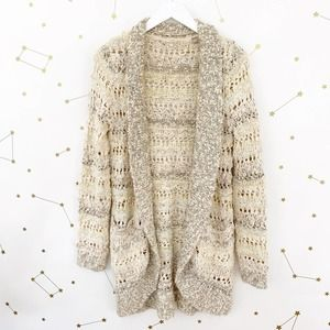 Anthro • Open Knit Sequined Cardigan Sweater